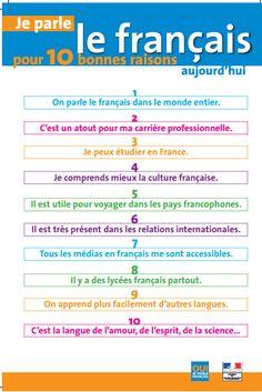 Mange, aime, parle en français.