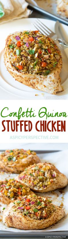 The Highest Three Chicory Espresso Manufacturers - Include A Novel Taste On Your Cup Of Joe Zesty Confetti Quinoa Stuffed Chicken Recipe Whole Food Recipes, Dinner Recipes, Cooking Recipes, Healthy Recipes, Delicious Recipes, Weeknight Recipes, Healthy Foods, Easy Recipes, Dinner Ideas