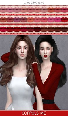 Lipsticks GoppolsME – Fashion The Sims 4 Sims New, My Sims, The Sims 4 Skin, The Sims 4 Packs, The Sims 4 Cabelos, Medium Hair Styles, Long Hair Styles, Sims 4 Cc Makeup, Sims 4 Game