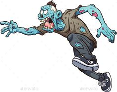 Cartoon Zombie by memoangeles Running cartoon zombie. Vector clip art illustration with simple gradients. All in a single layer. Zombie Illustration, Illustration Art, Zombie Drawings, Running Cartoon, Cartoon Mouths, Zombie Art, Macabre Art, Creative Posters, Zombies