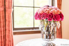 花瓶 サンルームに薔薇