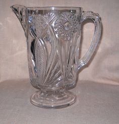 Victorian Era McKee Water Pitcher #132 aka ISIS, ca 1894 EAPG Early American Pattern Glass by VintageGlassGoddess on Etsy
