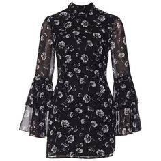 Frill Long Sleeve Mini Dress ❤ liked on Polyvore featuring dresses, long sleeve short dress, longsleeve dress, frilled dress, flutter-sleeve dresses and ruffle dress