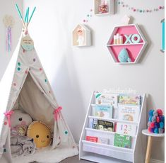Kids corner, love the teepee filled with cushions. Kmart Australia style kids corner 25 Sweet Reading Nook Ideas for Girls Big Girl Bedrooms, Little Girl Rooms, Kids Corner, Childrens Reading Corner, Play Corner, Kids Reading, Baby Bedroom, Girls Bedroom, Bedroom Ideas