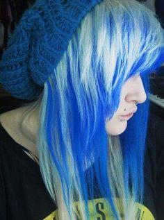 #white & #blue #dyed #hair #pretty
