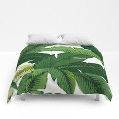 Banana Leaves Duvet Cover Palm Leaves Comforter green bedding