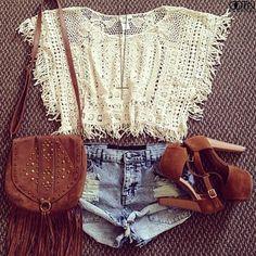 Crochet crop top & high waisted shorts  #ootd
