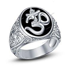 "Pure 925 Silver Men's Hindu Religious "" OM "" Diamond Band Ring With Black Enamel #tvsjewelery #HinduReligiousOMBandRing #DailyWear"