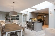 Great open plan feeling but with well defined zones. Lovely use of rooflights to bring in natural light from above