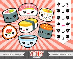 13 Kawaii Sushi Clipart Cute Sushi Clipart Sushi por VectoryClipart
