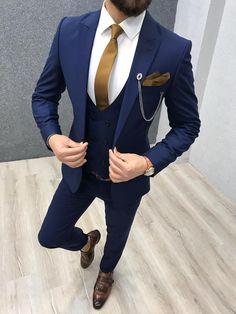 Bernard navy blue bojoni wedding suits men fall menswear ideas for 2019 Blue Slim Fit Suit, Blue Suit Men, Navy Blue Suit, Blue Suits, Man Suit, Navy Blue Tuxedos, Suit Vest, Wedding Dress Men, Wedding Men