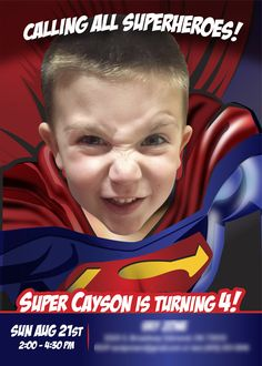 Sample SUPERMAN invitation! If he loves America's favorite Super Hero: Turn him into Superman and be the star of his Birthday Invitation. Please share with all the little heroes proud parents! #Superheroes #superman #supermaninvitations #supermanideas #supermanparty #JusticeLeague #superboy #cartoons #comics #myheroathome