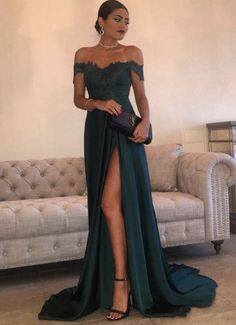 A Line Navy Green Chiffon Prom Dress, High #prom #promdress #dress #eveningdress #evening #fashion #love #shopping #art #dress #women #mermaid #SEXY #SexyGirl #PromDresses