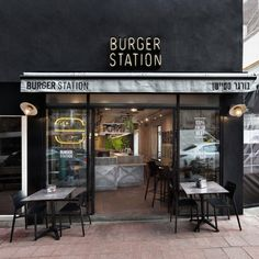 """""""Burger Station"""" - Design of a boutique burger joint The fast food industry could be largely divided into two - the major fast food corporations like Mcdonald's and Burger King on the one han Burger Bar, Burger Restaurant, Outdoor Restaurant, Fast Food Restaurant, Cafe Interior Design, Cafe Design, Pizza Menu Design, Small Restaurant Design, Bar A Vin"""
