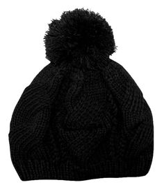 Peach Couture Stylish Thick Chunky Cable Knit Pom Pom Slouch Beanie Hat (Ebony) #PeachCouture #womens