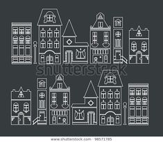 Ideen rund ums Haus vector illustration of europe and american houses by Vector pro, via ShutterStoc