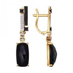Серьги длинные из золота с чёрными агатами и чёрными фианитами