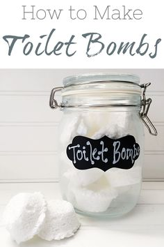 It is so easy to make DIY Toilet Bombs. They are perfect for freshening toilets between cleanings. Green Cleaning, Toilets, Kind Words, Cleaning Hacks, Mason Jars, Lavender, Laundry, Mugs, Tableware