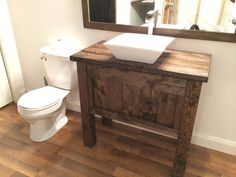 Rustic Farmhouse Bathroom Vanity with Vessels Sink and Free Fall Faucet