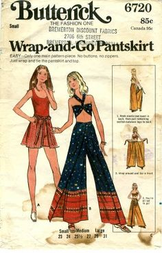Pantskirt Pattern Vintage Wrap and Go Flared Pants Wrap Around Shorts Halter Top Size Medium Butterick 6720 by PrettyfulPatterns on Etsy Diy Clothing, Sewing Clothes, Clothing Patterns, Dress Patterns, Pantalon Thai, Pantalon Long, Motif Vintage, Vintage Mode, 70s Fashion