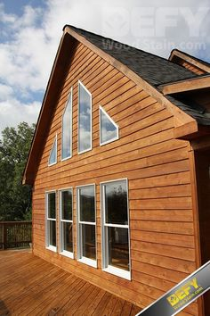 Cedar sided house stained with DEFY Extreme Wood Stain in cedar tone Black Wood Stain, Cedar Stain, Exterior Wood Stain Colors, Exterior House Colors, Outdoor Wood Furniture, Outdoor Decor, Outdoor Spaces, Outdoor Living, Mountain Home Exterior