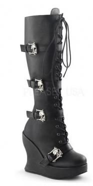 Skull Buckle Wedge Boots