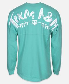 Jade Long sleeve Texas A&M T-shirt. Also available in white. #AggieGifts #AggieStyle