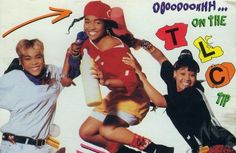 hip-hop fashion- Baggy pants, hats turned sideways, and ovesized clothes. Women wore this look as seen on the girl hip-hop group, TLC. Tlc Albums, Music Albums, Music Books, New Jack Swing, Tlc Group, Girl Group, Good Music, My Music, Afro