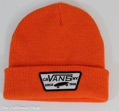 a90d8fafd6d95 Vans Off The Wall Milford Beanie Mens Hazard Orange Knit Cuffed New NWT OSFM