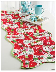 Christmas Candy Apples table runner at Accuquilt