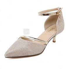 Mujer Zapatos Purpurina   Semicuero Primavera   Verano Tira en el Tobillo  Tacón Bajo Plata   Dorado   Fiesta y Noche   Vestido   Fiesta y Noche efe8a53ee1c2