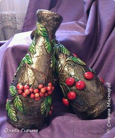 Vot and waited for my glass containers for their turn))) Photo 1 Plastic Bottle Art, Reuse Plastic Bottles, Glass Bottle Crafts, Wine Bottle Art, Painted Wine Bottles, Diy Bottle, Decorated Bottles, Vase Crafts, Clay Crafts