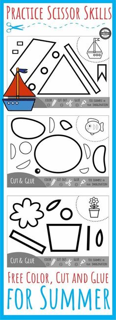Color, Cut, Glue Summer Scissor Practice Color Cut Glue Scissor Summer Activity - Get your freebie to color, cut and glue together the pieces of the summer pictures from Your Therapy Source. Preschool Learning, Early Learning, Fun Learning, Teaching, Motor Activities, Preschool Activities, Time Activities, Cutting Activities For Kids, Preschool Cutting Practice