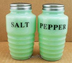 ADEITE GLASS SALT PEPPER SET BEEHIVE PATTERN