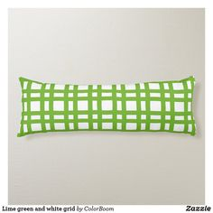 Lime green and white grid body pillow Green Cushions, Green Home Decor, Decorative Cushions, Soft Fabrics, Grid, Vibrant Colors, Lime, Design, Throw Pillows