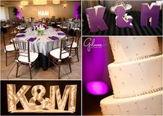 gilmore_studios_wedding_photo_turnip_rose_promenade_newport_beach_costa_mesa_venue_bride_groom_ceremony_14, reception, indoor, reception, orange county, chairs, tables, linens, plates, table cloth, center piece, flowers, floral, wine cork, place cards, purple, cake, pink, light, letters, initials, turnip rose wedding venue, GilmoreStudios.com