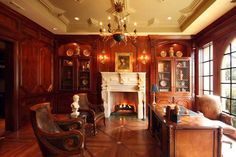 english library decor | Italian style library with an English flare designed by Dallas Design ...
