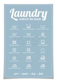 Laundry Symbols Poster - Codes to the Loads - 12x18 Art Print - Typography Poster - Laundry Procedures Sign