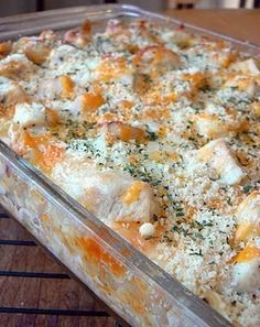 Cheesy chicken ranch lasagna  2 (12 oz) cans evaporated milk  1 (1 oz) pkg. dry Ranch dressing mix (not the dip blend)  3 Cup cubed, cooked chicken  1 (16oz) lasagna noodles, cooked  (9 noodles)  1 1/2 - 2 Cups cheddar cheese, grated  1 1/2 - 2 Cups mozzarella cheese, grated