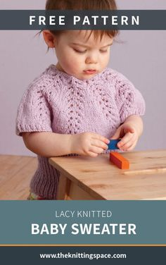 Create a set of this lovely lace knitted top for your little one's daily outfits! Comfy and versatil Knit Baby Sweaters, Knitted Baby Clothes, Knitted Baby Blankets, Baby Knits, Knitting Blogs, Baby Knitting Patterns, Lace Knitting, Crochet Patterns, Summer Knitting Projects
