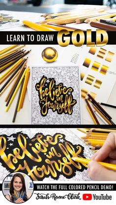 How to Draw GOLD: This step-by-step gold drawing tutorial will bring some shine to your adult coloring pages and drawings! It's not as hard as it looks! Learn the colors that make gold, some useful patterns and blending techniques, and how to create realistic reflections. Check it out on YouTube now!