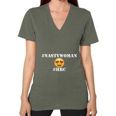 Nasty Woman #HRC V-Neck T-Shirt