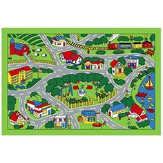 Children Area Rug City Map 39 inchx58 inch, Green