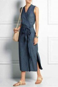 Madewell - Denim wrap dress Blue denim Concealed snap fastening at front cotton Machine wash Dress Outfits, Casual Dresses, Fashion Dresses, Summer Dresses, Wrap Dress Outfit, Easy Dress, Modest Fashion, Denim Dress Outfit Summer, Nice Outfits