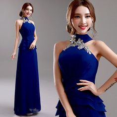 Azul vestido de noite 2015 novo chegada festa de casamento da noiva vestido Plus Size Halter Strapless Sexy vestido Formal longo