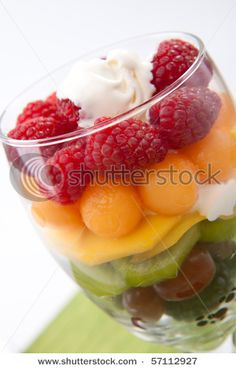 blue berry. grapes. kiwi, mango, cantaloupe, raspberry.  with dollop of yogurt or ice cream