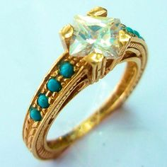 Antique Style 14k Rose Gold Zircon Turquoise Cocktail Ring 571$
