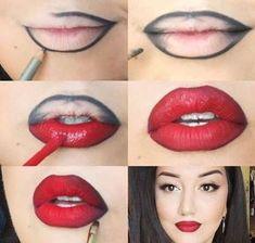 Red Lipstick Looks, Red Lipstick Makeup, Perfect Lipstick, Contour Makeup, Red Lipsticks, Skin Makeup, Girls Lipstick, Lip Contouring, Makeup Eyebrows