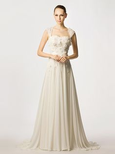 Chiffon Beading Cap Sleeves A-line Wedding Beach Dress on nextdress.co.uk