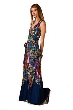 On Trend Paisley Bohemian Floral Print Color Block Sleeveless Long Maxi Dress at Amazon Women's Clothing store: